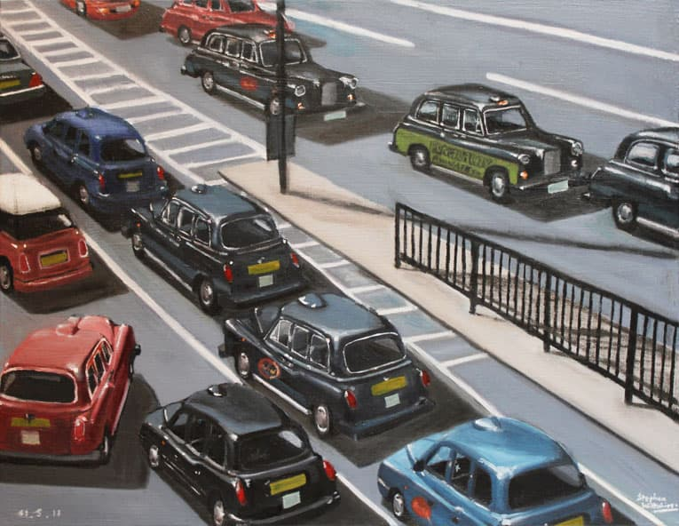London Taxi Cabs - oil on canvas - original drawings and prints for sale