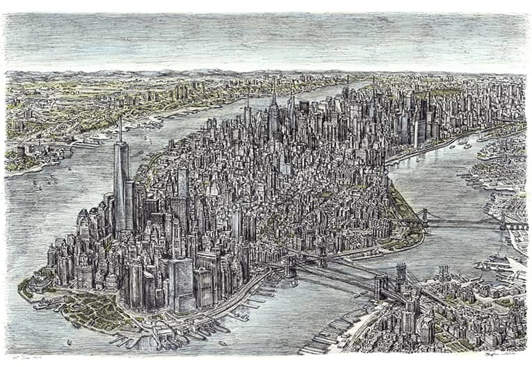Aerial view of Manhattan Skyline 2011 (A4 print) with White mount (A4) in Flat grain black frame for A4 mounts (J90)