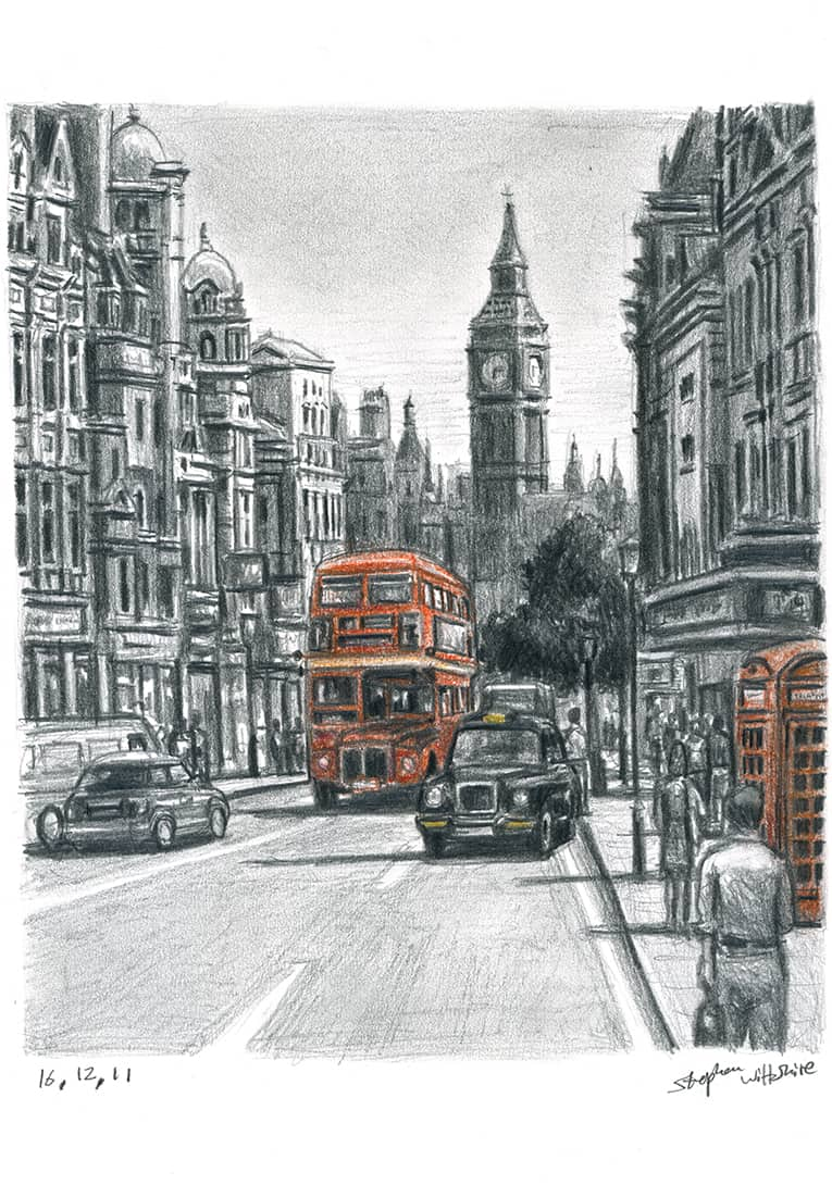Whitehall in summer (Limited Edition of 75) - original drawings and prints by Stephen Wiltshire