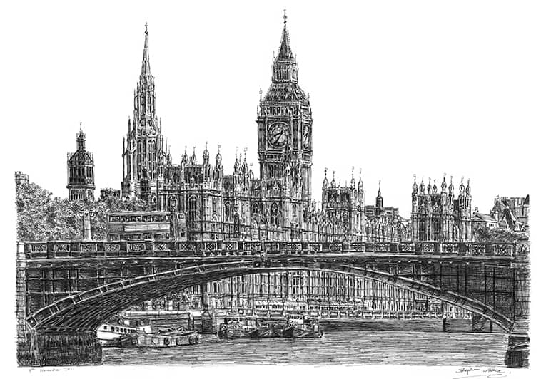 Houses of Parliament - originals and prints by Stephen Wiltshire MBE