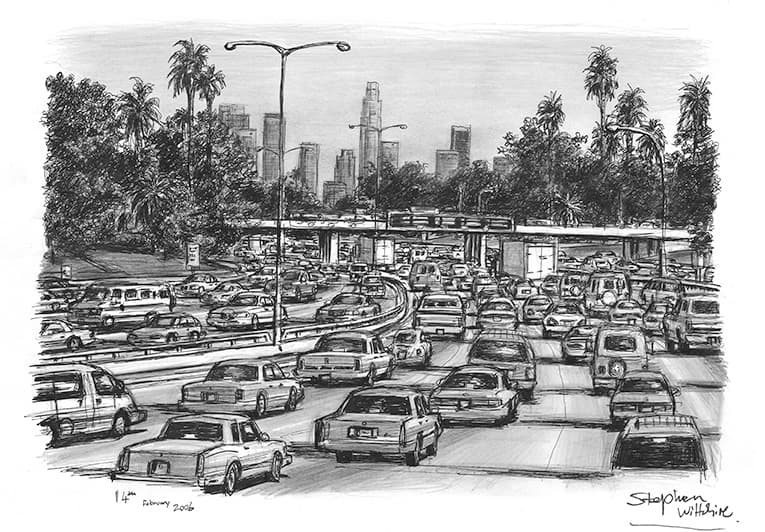 Los Angeles traffic on a freeway - original drawings and prints by Stephen Wiltshire