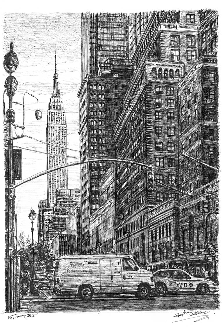 Street scene of 34th street New York - Original drawings ...