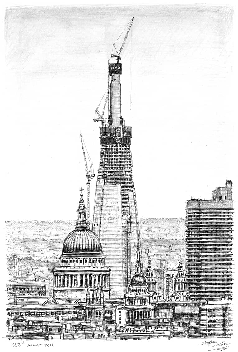 Shard of Glass from Parliament Hill - originals and prints by Stephen Wiltshire MBE