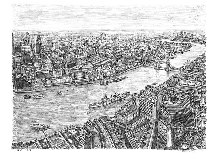 The View from the Shard with White mount (A4) in Flat grain black frame for A4 mounts (J90)