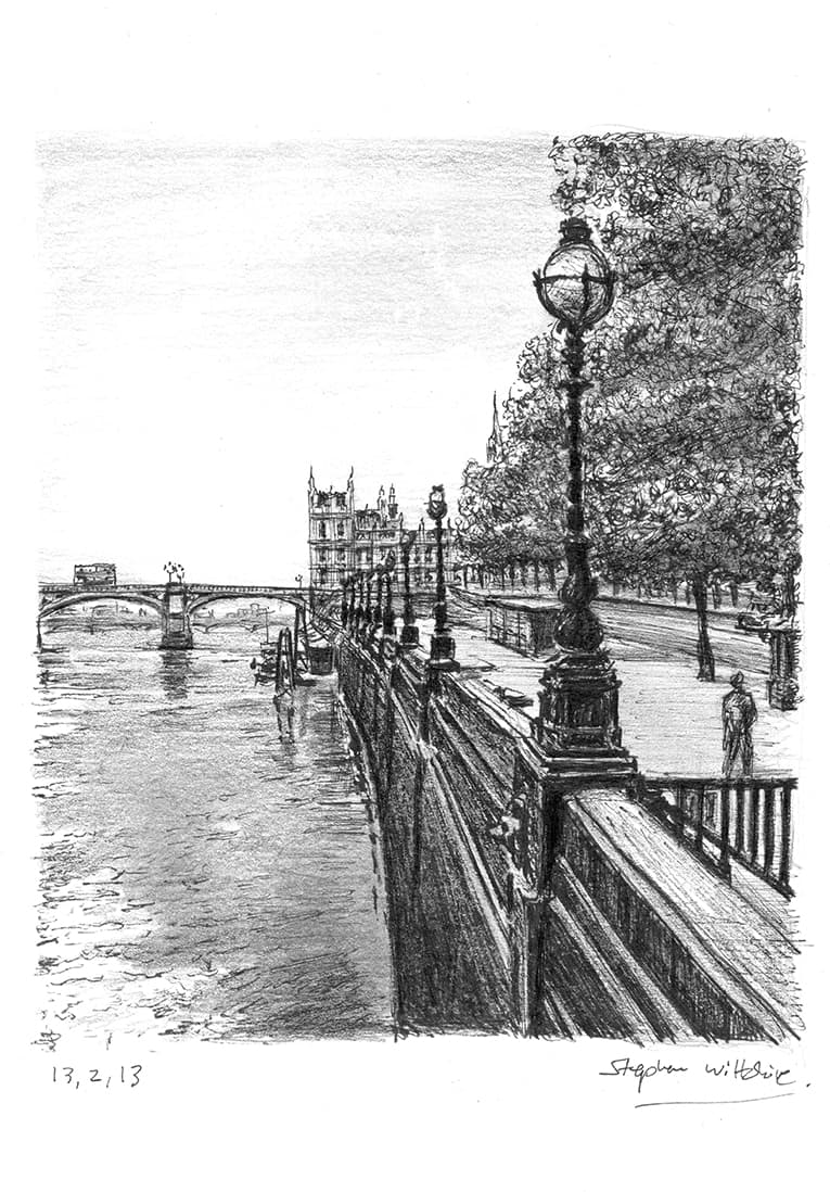 View of Westminster Bridge in summer - original drawings and prints by Stephen Wiltshire