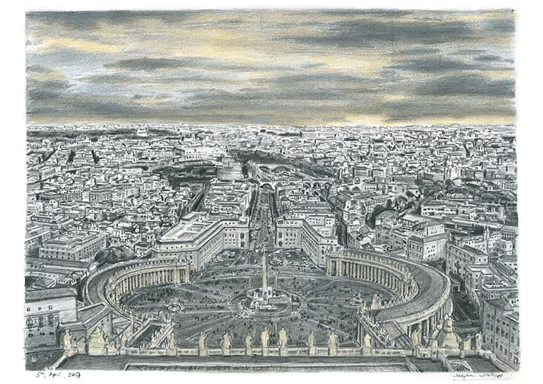 Vatican City (Rome) with White mount (A3) in Cushioned Black frame for A3 mounts (C59)