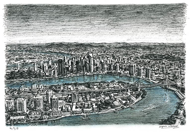 Aerial view of Brisbane - Original Drawings and Prints for Sale