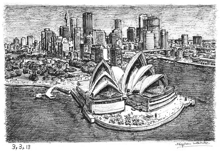 Sydney Opera House and skyline (A4 print) with White mount (A4)