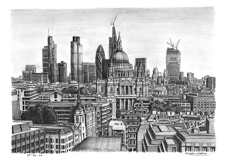 St Pauls Cathedral and the City of London skyline - original drawings and prints by Stephen Wiltshire