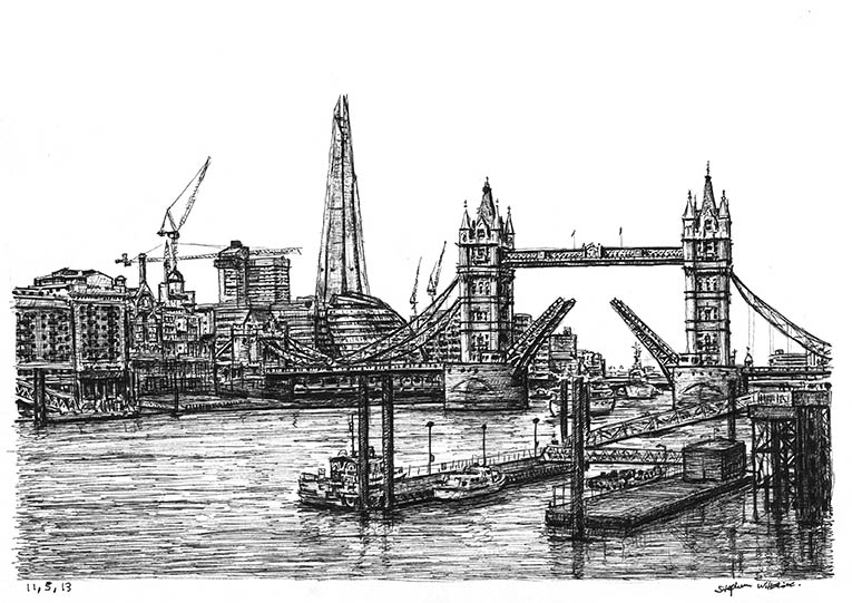 View of the Shard and Tower Bridge - originals and prints by Stephen Wiltshire MBE