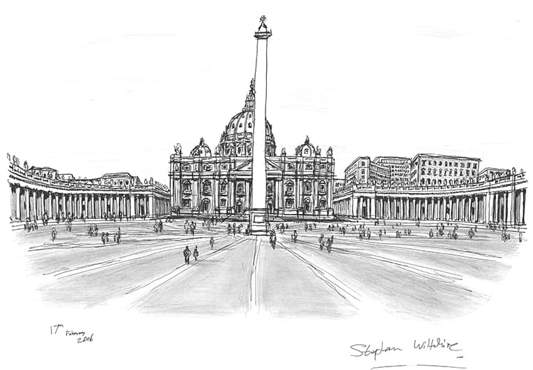 St Peters, Rome - originals and prints by Stephen Wiltshire MBE