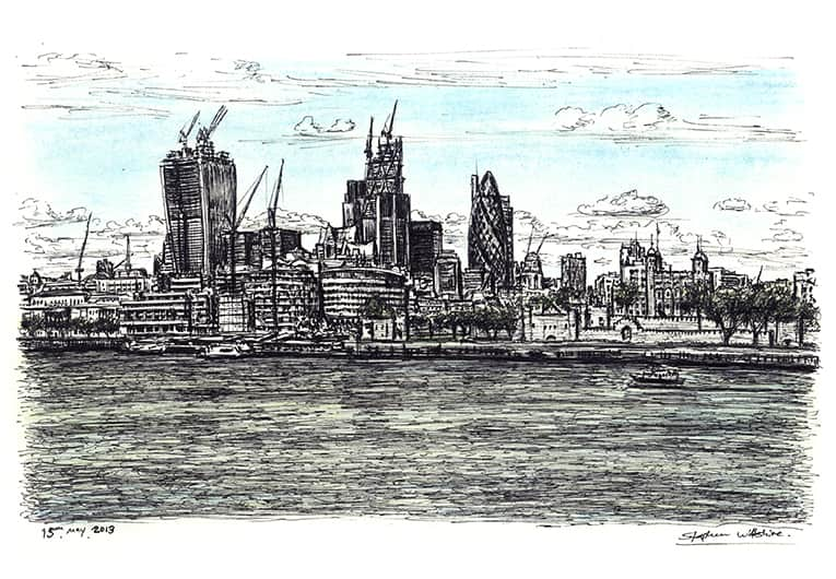 View of City of London from Tower Bridge - original drawings and prints by Stephen Wiltshire