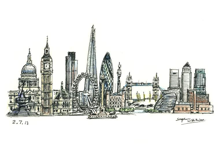 London montage - originals and prints by Stephen Wiltshire MBE