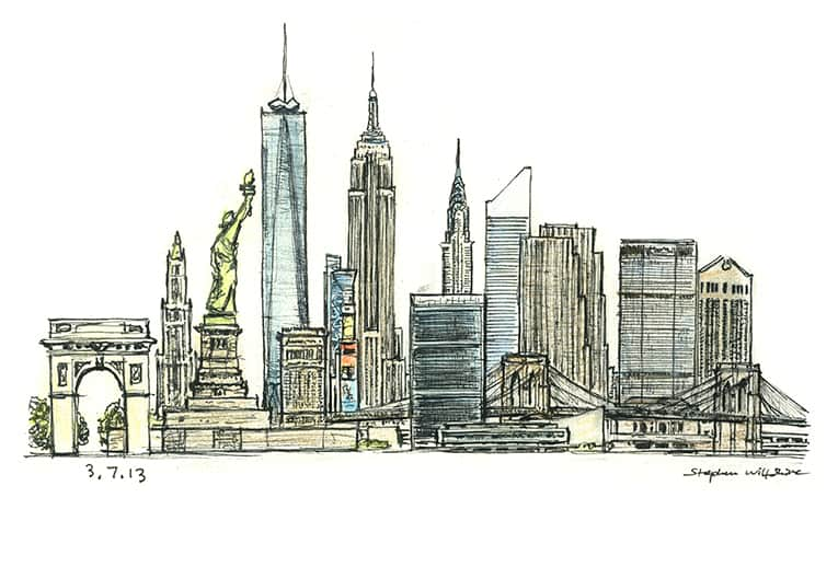 New York montage - originals and prints by Stephen Wiltshire MBE