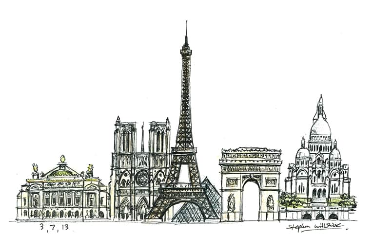 Paris montage with White mount (A4) in Flat grain black frame for A4 mounts (J90)