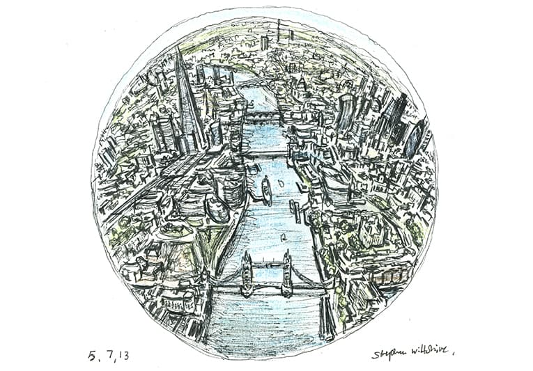 Mini Globe of London - Original Drawings and Prints for Sale