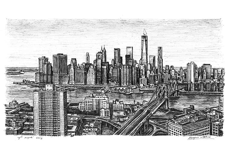 Birds eye view of the Freedom Tower and Brooklyn Bridge - originals and prints by Stephen Wiltshire MBE