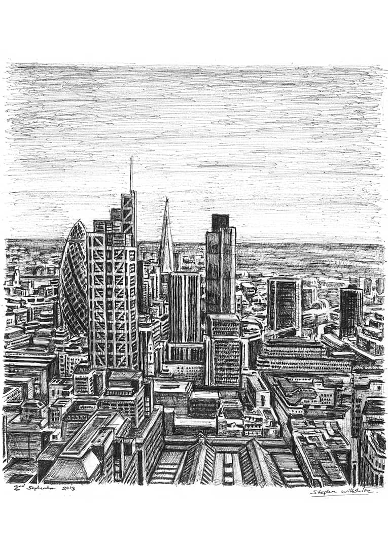 City of London skyline 2013 (A4 print) with White mount (A4) in Flat grain black frame for A4 mounts (J90)