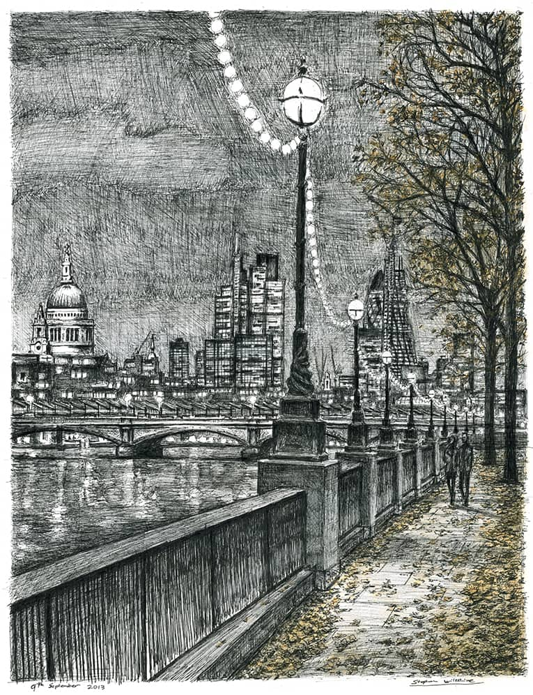 From Southbank on an autumn evening - originals and prints by Stephen Wiltshire MBE