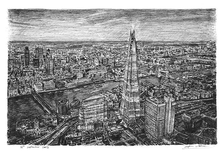 Aerial view of the Shard (in the evening) (A4 print) with White mount (A4) in Flat grain black frame for A4 mounts (J90)