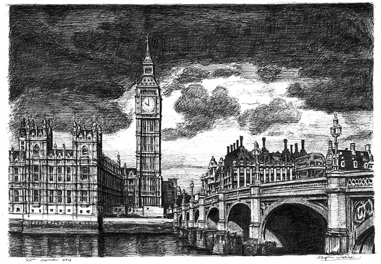 Big Ben and Westminster Bridge London - original drawings and prints for sale