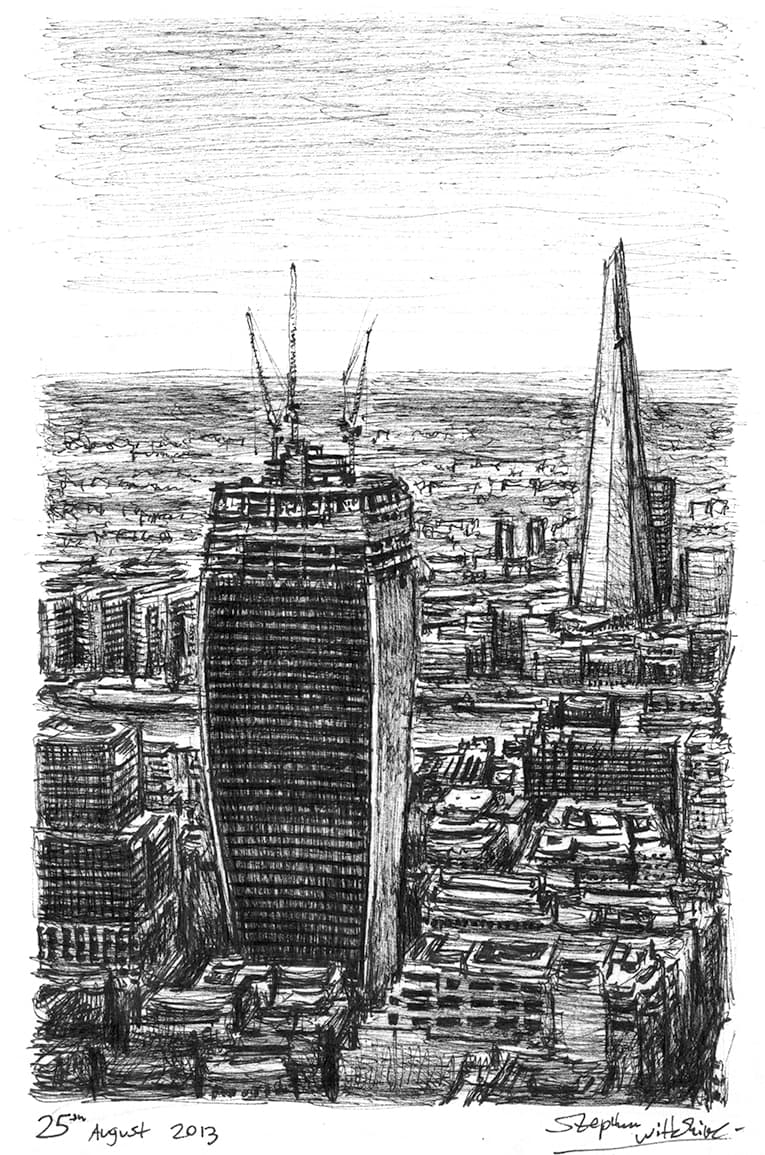 Walkie Talkie under construction (A4 print) with White mount (A4) in Flat grain black frame for A4 mounts (J90)