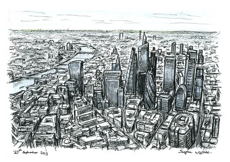 Aerial view of City of London skyscrapers of the future - originals and prints by Stephen Wiltshire MBE