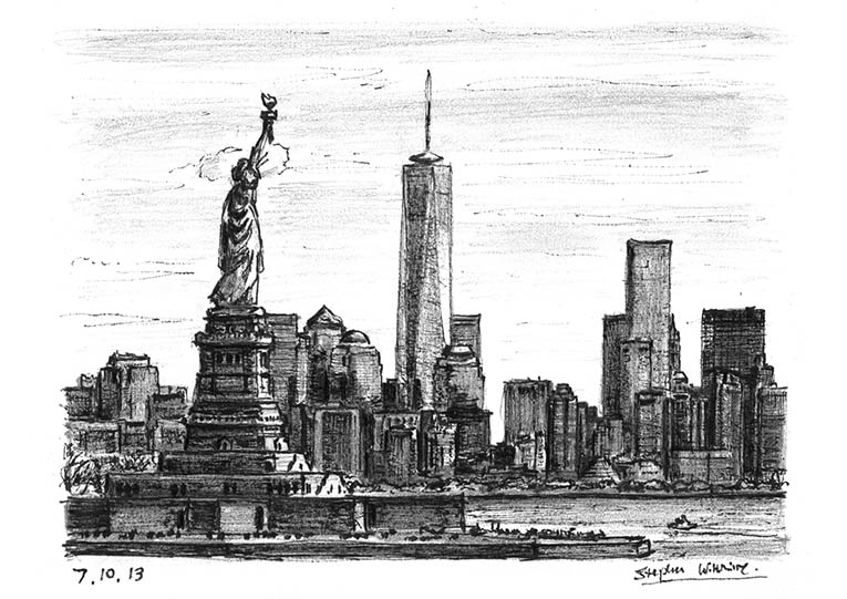 Statue of Liberty & the view of Freedom Tower - original drawings and prints by Stephen Wiltshire