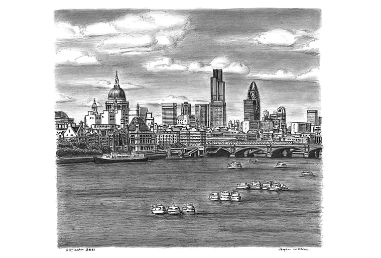 St Pauls Cathedral and London skyline with River Thames - Original Drawings and Prints for Sale