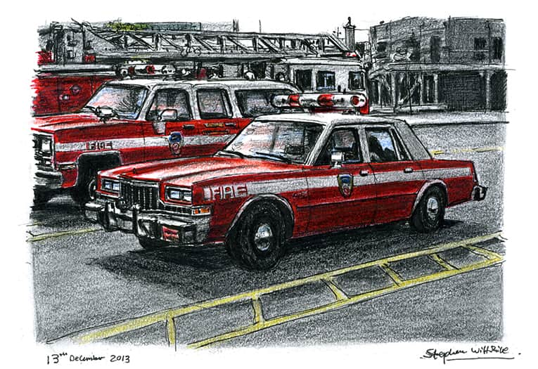 FDNY Chief Officers Car - originals and prints by Stephen Wiltshire MBE