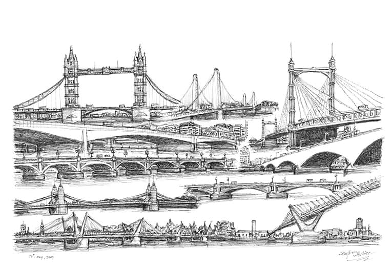 Montage of bridges in London - original drawings and prints by Stephen Wiltshire