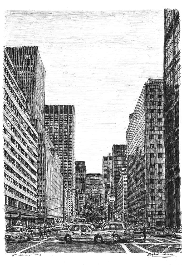 New York street scene on Park Avenue - originals and prints by Stephen Wiltshire MBE