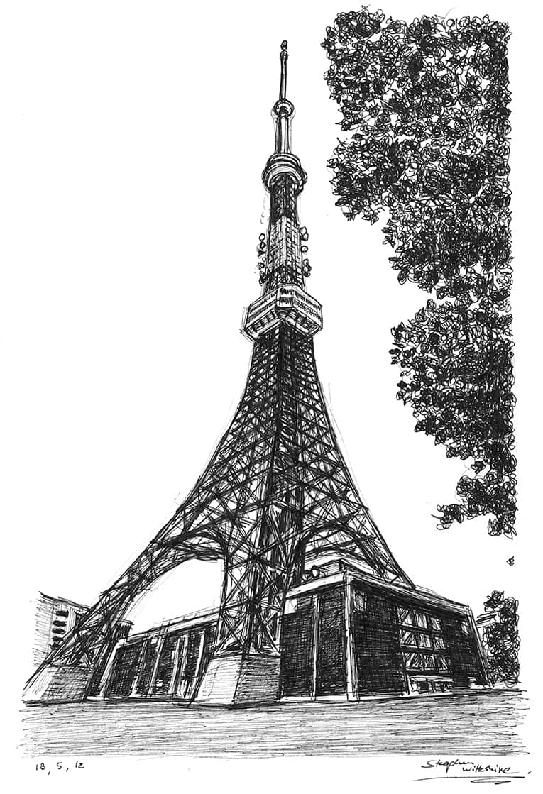 Tokyo Tower with White mount (A3) in Cushioned Black frame for A3 mounts (C59)