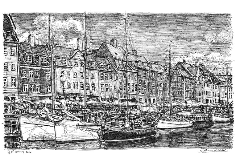 Nyhavn, Copenhagen (A4 print) with White mount (A4)