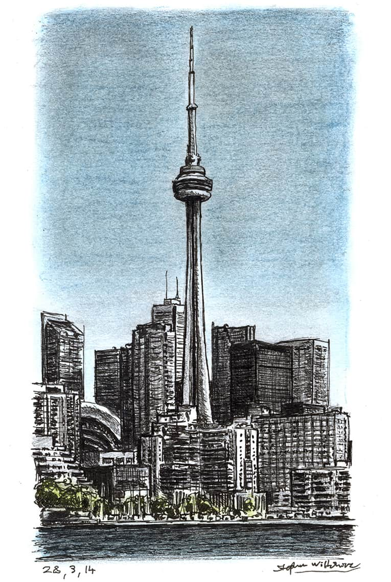 CN Tower, Toronto (A4 print) with White mount (A4)