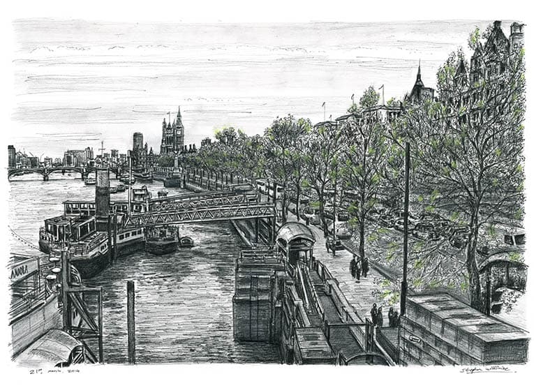 Embankment - originals and prints by Stephen Wiltshire MBE