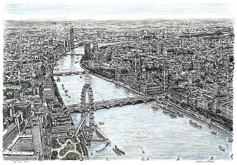 Aerial view of Houses of Parliament - originals and prints by Stephen Wiltshire MBE