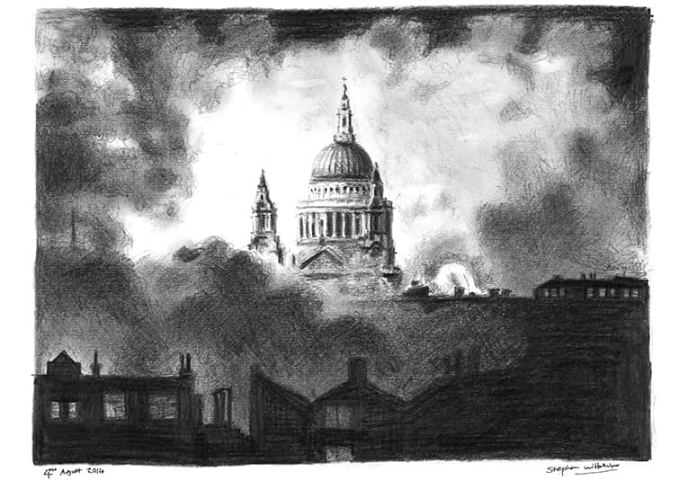 St Pauls Cathedral in the blitz with White mount (A4) in Flat grain black frame for A4 mounts (J90)