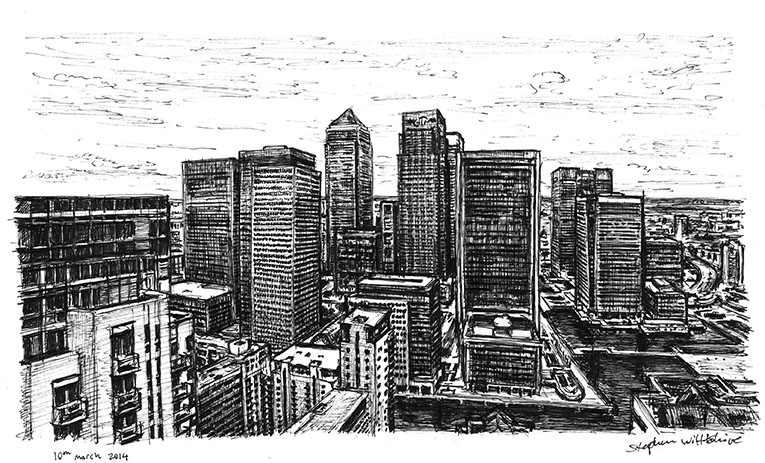 View of Canary Wharf from Pan Peninsula - original drawings and prints by Stephen Wiltshire
