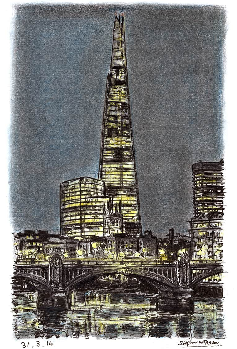 The Shard at night (A4 print) with White mount (A4)