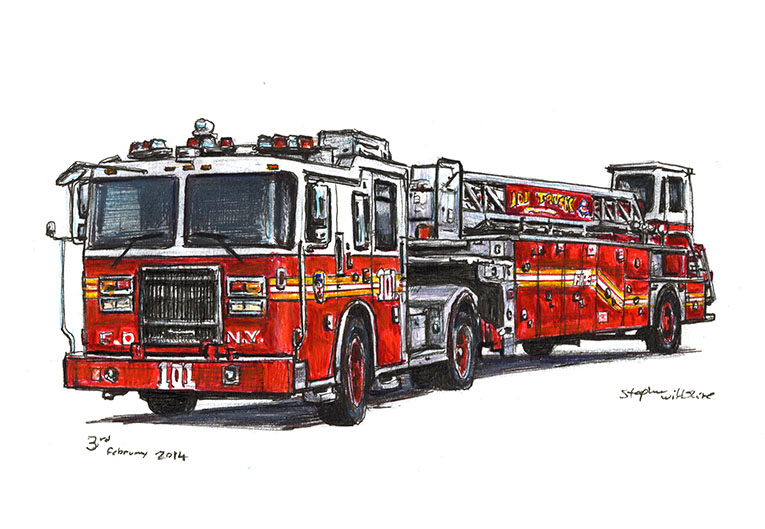 FDNY 2013 Seagrave Tiller Ladder 101 (A4 print) with White mount (A4) in Flat grain black frame for A4 mounts (J90)