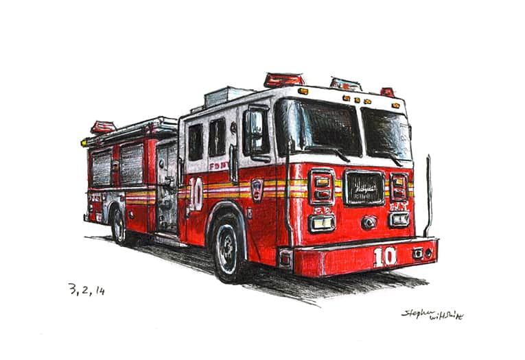 FDNY Seagrave Engine 10 - originals and prints by Stephen Wiltshire MBE