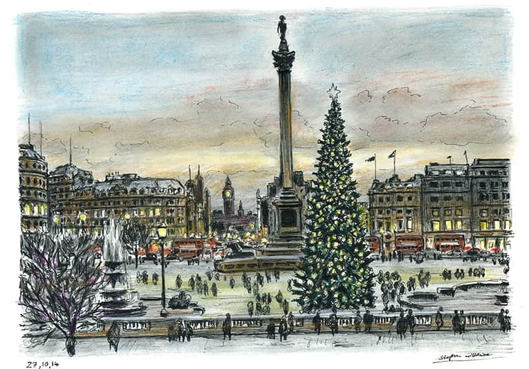 Trafalgar Square on a Christmas evening - Original drawings, prints and limited editions by ...