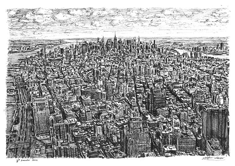 View of midtown Manhattan from the Freedom Tower - Original Drawings and Prints for Sale