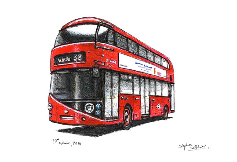 The new Routemaster bus (A4 print) with White mount (A4)
