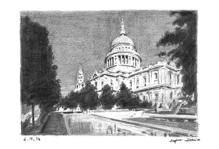 St Pauls Cathedral 2014 (A4 print) with White mount (A4)