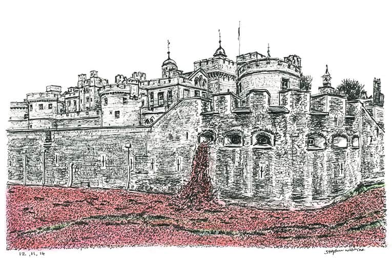 Poppies at the Tower of London (A4 print) with White mount (A4) in Flat grain black frame for A4 mounts (J90)