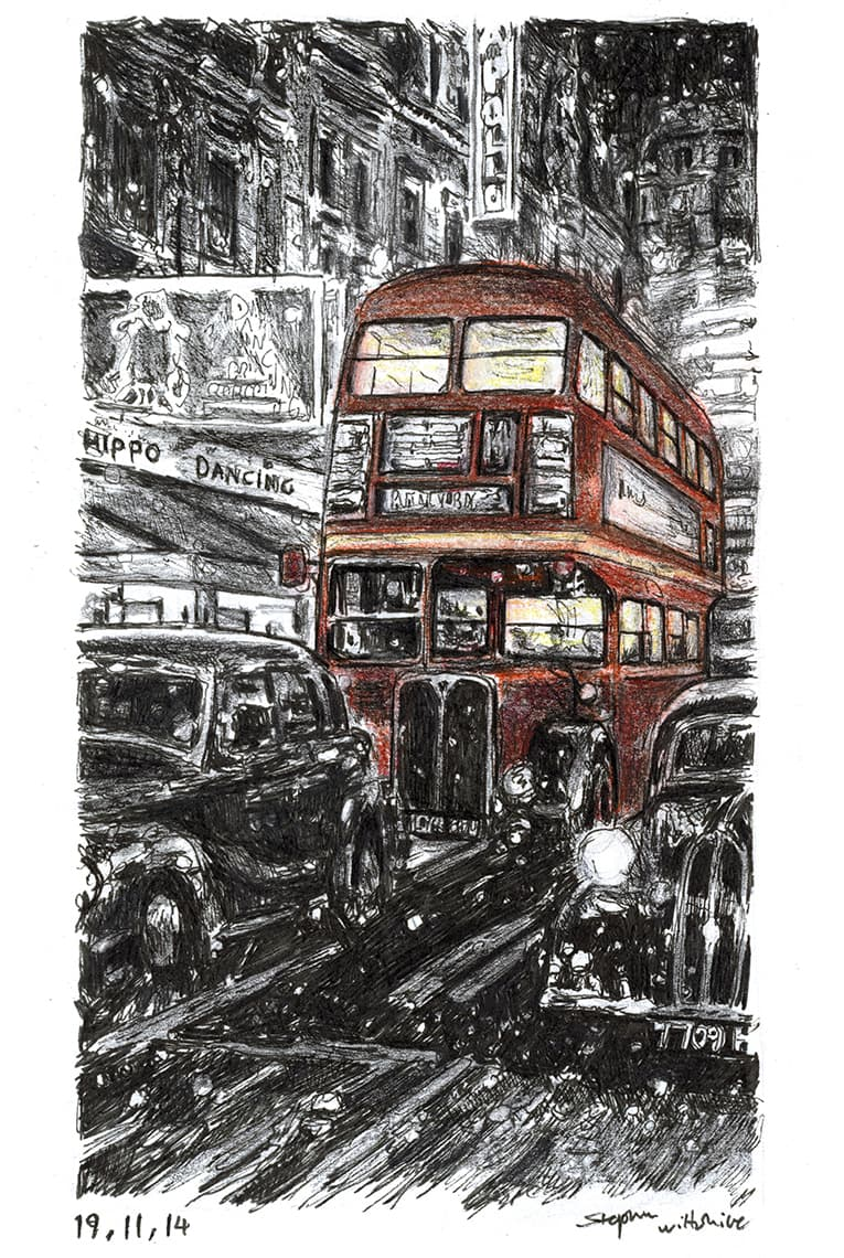 RT London bus on a winters night - Original Drawings and Prints for Sale