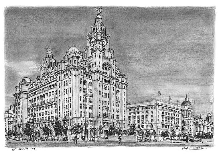 Liver Building, Liverpool - originals and prints by Stephen Wiltshire MBE