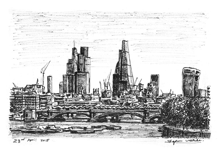 City of London skyline from Waterloo Bridge - originals and prints by Stephen Wiltshire MBE
